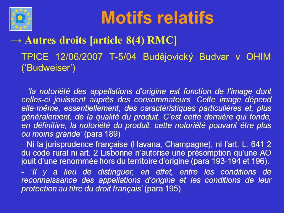 Motifs relatifs → Autres droits [article 8(4) RMC] TPICE 12/06/2007 T-5/04 Budějovický Budvar v OHIM ('Budweiser')